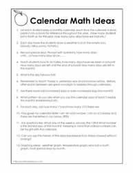 Activities for Calendar Math