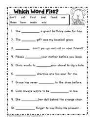 Free cloze worksheets for grade 3