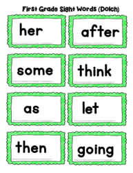 First Grade Word Cards