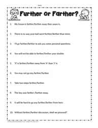 Farther or Further Worksheets
