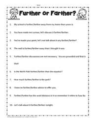 Farther and Further Worksheets