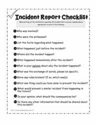 Incident Report Checklist