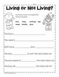 Living or Non Living Worksheet