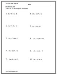 Multiply BinomialsWorksheets