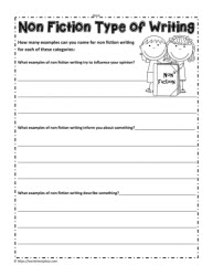 Non Fiction Worksheet