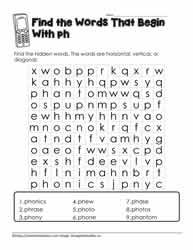 Wordsearch for ph Digraph