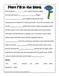 Plants Cloze Worksheet