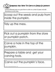Procedural Writing - Sequence the Carve the Pumpki