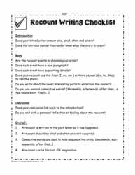 Recount Writing Checklist