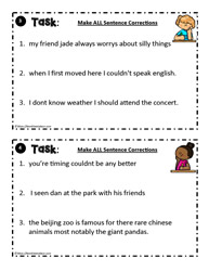 Sentence Correction Task Card  3 -  4