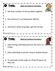 Sentence Correction Task Card  9 - 10