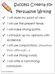 Success Criteria Persuasive Writing