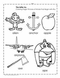 The Letter A Coloring Pictures