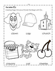 The Letter C Coloring Pictures