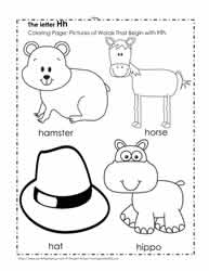 The Letter H Coloring Pictures