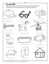 The Letter H Worksheets
