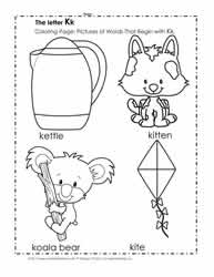 The Letter K Coloring Pictures