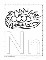 The Letter N Coloring Page