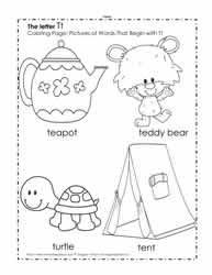 The Letter T Coloring Pictures