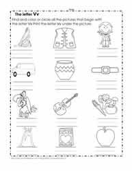 The Letter V Worksheets