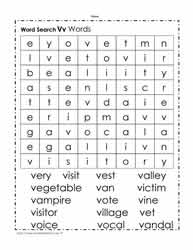 Words Beginning with W Wordsearch