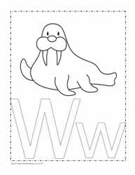 The Letter W Coloring Page