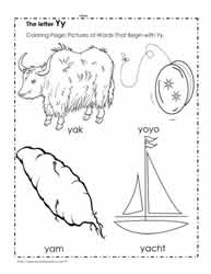 The Letter Y Coloring Pictures