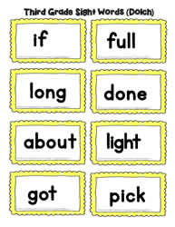 Third Grade Word Cards