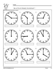 Telling Time To The Quarter Worksheet 1