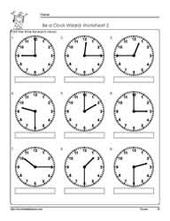 Telling-Time-to-The Quarter-Worksheet-2