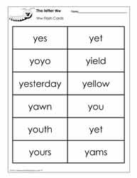 Word Wall Words for the Letter Y