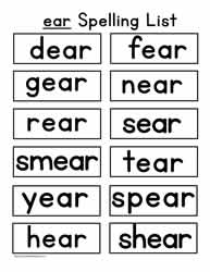 Language Worksheets Word Families ear Word Family