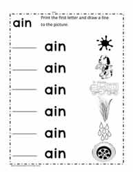 ain Word Family Worksheet