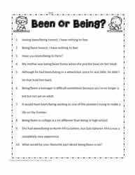 Been or Being Worksheets