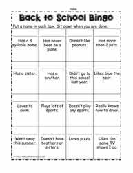 Back To School Bingo - Student Scavenger Hunt
