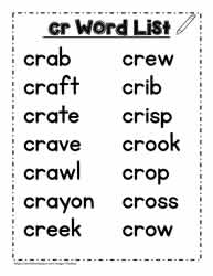 A cr Spelling List