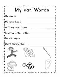 ear Word Family Sentences