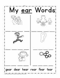 ear Word Family Worksheet