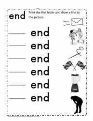 end Words Worksheet