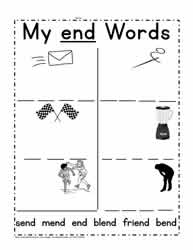 end Word Family Worksheet