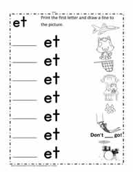 et Word Family Worksheet