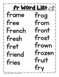 A fr Spelling List