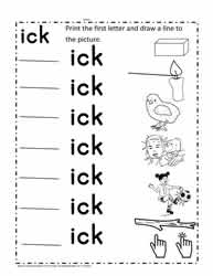 ick Word Family Activity