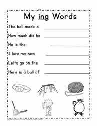 ing Rhyming Words Sentences
