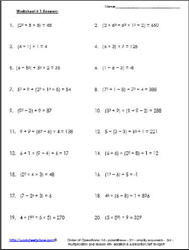 Order of Operations Worksheet 2