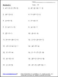 Order of Operations Worksheet 6