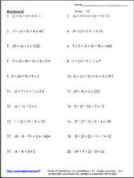 Order of Operations Worksheet 8