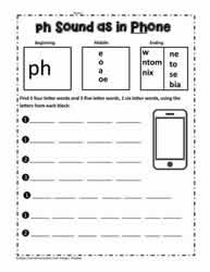 ph Digraph Build Words
