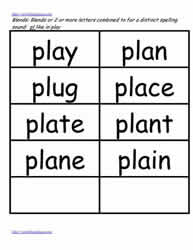 Pl word study lists, play, plug, plan etc.