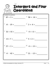 Integer Worksheet 2